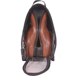 BagsRUs Black Water Resistant Polyester Travel Shoe Bag with Zip Closure (SH101FBL)