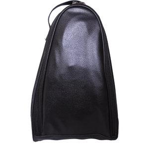 BagsRUs Black Leatherette Shoe Travel Bag (SH104FBL)