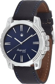 Imperial Club Round Dial Blue Leather Strap Men Quartz