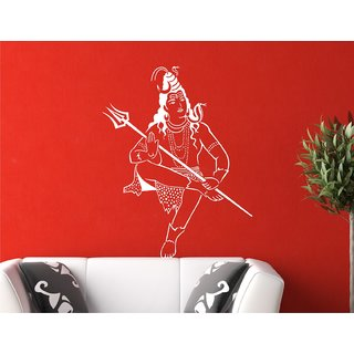 Heaven Decors Lord Shiva White Wall Sticker And Sticker Vinyl Wall Stickers Size(74X59)cm