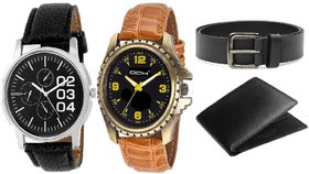 DCH Set Of 2 Analogue Watches With Black Leatherette Wallet  Belt For Boys  Men