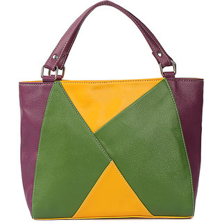 Origami Color Blocked Bag Color-Purple Wine