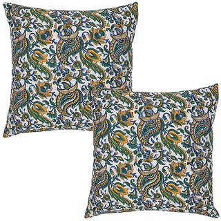 Rajrang Blue, White & Yellow Hand Block Printed Cushions Cover (Pack Of 2)