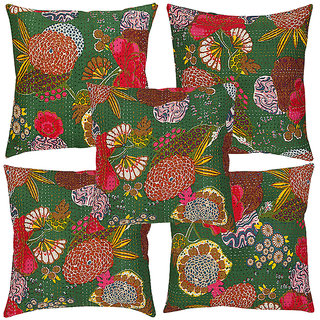 Rajrang Stylish Emerald Green Fruit Print With Kantha Cushions Cover (Pack Of 5)