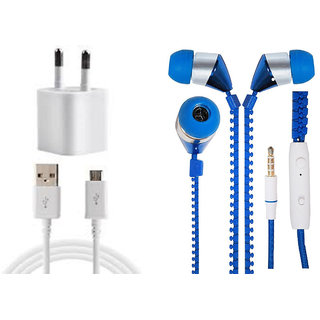 Jiyanshi Combo Of 2A Wall Charger & Stylish Earphone Blue Compatible With Micromax A55