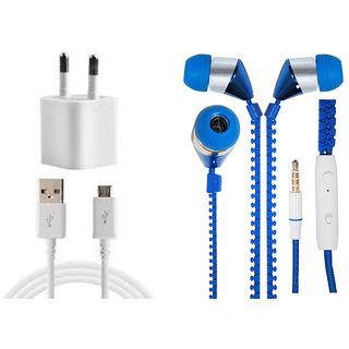 Jiyanshi Combo Of 2A Wall Charger & Stylish Earphone Blue Compatible With Lava Iris Atom 3