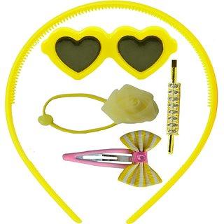ANGEL GLITTER Yellow Hearts Combo Of 5