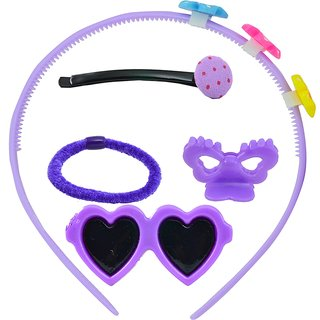 ANGEL GLITTER Purple Hearts and Flowers Clips combo of 5