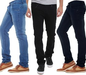 Stylox Men's Multicolor Slim Fit Jeans (Pack of 3)