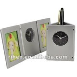 Triangular Pen Stand With Photo Frame & Clock