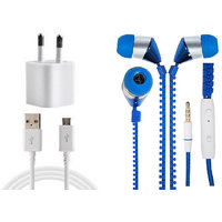 Jiyanshi Combo Of 2A Wall Charger & Stylish Earphone Blue Compatible With Iball Andi 4A Radium