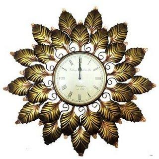 CraftedIndia Analog 58 cm Dia Wall Clock  (Gold, With Glass)