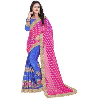 Saree Shop Pink Crepe Embroidered Saree With Blouse