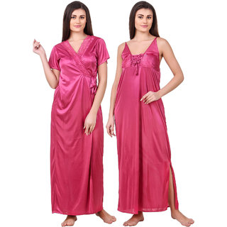 Fasense Satin 2 Pc Set of Nighty  Wrap Gown OM008