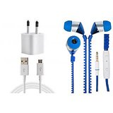 Jiyanshi Combo Of 2A Wall Charger & Stylish Earphone Blue Compatible With Celkon Smartron A67