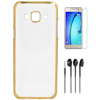 Electroplated Colden Chrome Cover with HD Tempered Glass and Noise Cancellation Earphones for HTC Desire 728