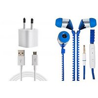 Jiyanshi Combo Of 2A Wall Charger & Stylish Earphone Blue Compatible With Honor Holly 2 Plus