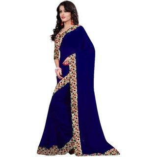 Sareeka Sarees Multicolor Bhagalpuri Silk Lace Saree With Blouse