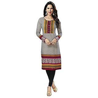 Seyon Fashions Women's 100 Pure Cotton Printed Grey  Kurti