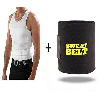 9a279b3d4a3 Buy Hot Shaper Slimming waist tummy sweat Belt Free size wwith Men vest  XXXL Online - Get 40% Off