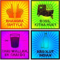 10 Am India Funny Coasters (set Of 4 - Sunboard)
