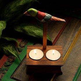Bird Collection Cuboidal Brown Tea Light Holder In Sheesham Wood