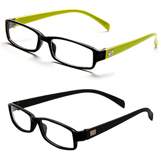 Magjons Green And Black Rectangle Unisex Eyeglasses Frame set of 2 with case
