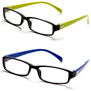Magjons Green And Blue Rectangle Unisex Eyeglasses Frame set of 2 with case