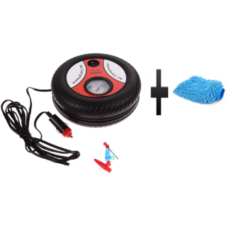 s4d Round Car Tire Inflator Mini Air pump and free microfiber hand glove one pc colour assorted
