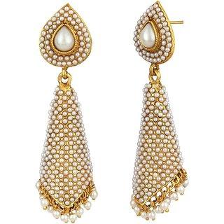 Jewels Gehna Studded White Pearls Traditional Antique Fancy Designer Jhumka Jhumki Earring Set For Women  Girls