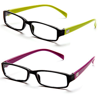 Magjons Green And Purple Rectangle Unisex Eyeglasses Frame set of 2 with case