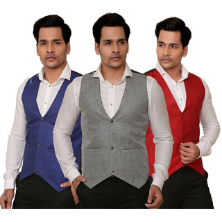 Kandy Solid Party Multicolor Wear Waist Coat For Men's Pack Of 3