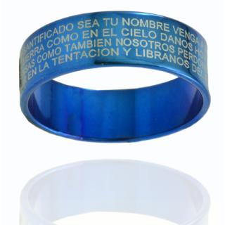 Alphaman The Universal Blue Blessing Cross Latin Inscripted Silver Ring
