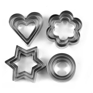 Kudos Stainless Steel Cookie Cutter Set, 12-Pieces, Silver