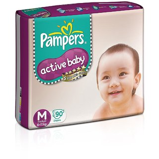 Krish India Pampers Active Baby Medium Size Diapers (90 count)