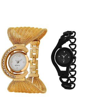 i DIVAS  COMBO OFFER GOLD  BLACK FANCY GIFT FOR SPECIAL Analog Watch - For Women