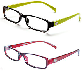 Magjons Green And TRANSPARENT RED Rectangle Unisex Eyeglasses Frame set of 2 with case