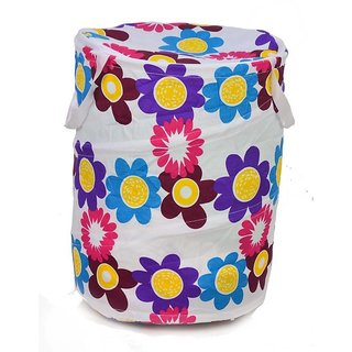 Kudos Multi color Attractive Round Shape Fold able Small Laundry Bag ( pack of 1  )