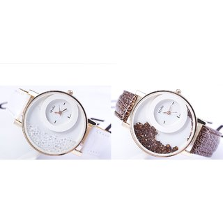 i DIVAS DIMOND Women White And Coffe Combo Of 2 Wadding Casual ladies and Girls Watch