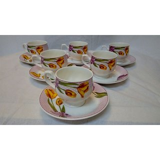Bone China material 6 cups and 6 plates
