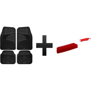 s4d Black Premium Rubber Car Foot Mat for Ford Eeco Sport and carpet brush