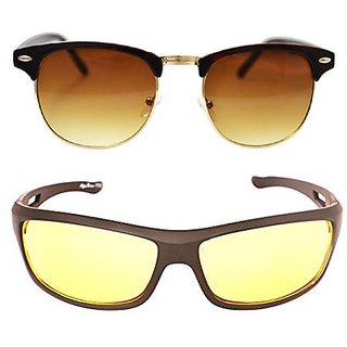 Magjons brown clubmaster And Yello NightDrive Sunglasses Combo Set of 2 With box MJA26