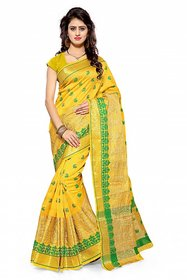 Meia Yellow Cotton Self Design Saree With Blouse
