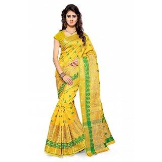 Satyam Weaves Yellow Cotton Self Design Saree With Blouse
