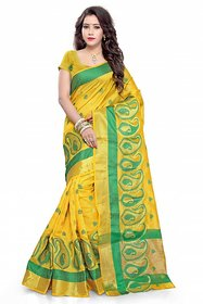 Meia Yellow and Green Art Silk Self Design Saree With Blouse (Colors Available)