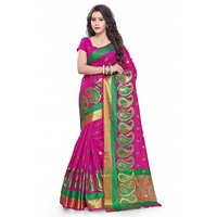 Satyam Weaves Pink Cotton Self Design Saree With Blouse
