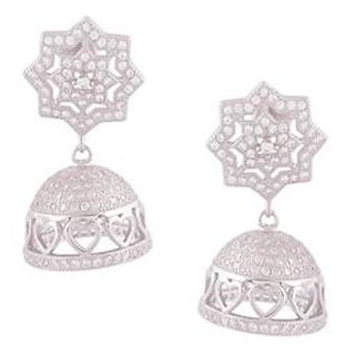 Earring 925 Sterling Silver Original with Cubic Zirconia Jhumki