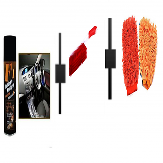 s4d Car Dashboard polish / carpet brush and microfiber hand glove one pc colour assorted
