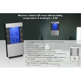 Weather Station LCD Clock With Humidity, Temperature & Backlight
