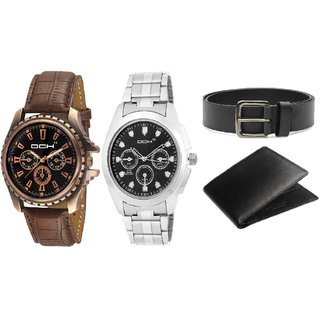DCH WBIN-11.16 Pack Of 2 Designed Analogue Wrist Watch With Wallet And Belt For Boys And Men